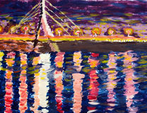 Drawing in impressionists manner - bridge and a river in the nig Royalty Free Stock Photo