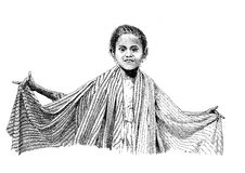 Drawing Indonesian girl. Handmade black and white drawing of dancing Indonesian girl Stock Photo