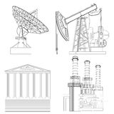 Drawing Industries: telecommunications, the oil, financial, energy. Figures in the form of line drawings Stock Illustration