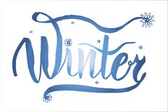 Drawing, inscription with the text `Winter`, lettering caliber hand-drawn ink vector illustration. Drawing, inscription with the text `Winter`, lettering caliber stock illustration
