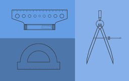 Drawing instruments set. Blue backspace Stock Photo