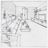 Drawing of interior living room Stock Image