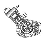 Motocycle engine design isolated in black background. It can be used as an illustration for the high-tech, systems and. Drawing an internal combustion motocycle Royalty Free Stock Photos