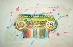 Drawing ionic capital. Illustration of Ionic capitals drawing spattered with multicolored watercolor on white background Stock Photography