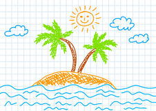 Drawing of island Stock Photography