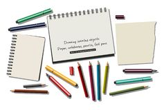 Drawing isolated objects paper notebooks pencils felt pens. Color vector illustration. EPS8 Stock Photos