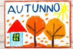 Free Drawing: Italian Word Autumn, Home And Trees With Orange Leaves. Stock Photo - 103260340