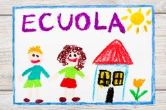 Drawing: Italian word SCHOOL, school building and happy children. First day at school. Photo of  colorful drawing: Italian word SCHOOL, school building and Royalty Free Stock Photography
