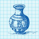 Drawing of jar on graph paper vector Royalty Free Stock Image