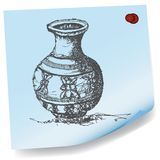 Drawing of jar on sticky paper vector Stock Photography