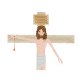 Drawing jesus christ nailed the cross Royalty Free Stock Photography