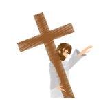 Drawing jesus christ pray girls. Illustration eps 10 Royalty Free Stock Images