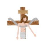 Drawing jesus christ sacred cross. Illustration eps 10 Stock Photo