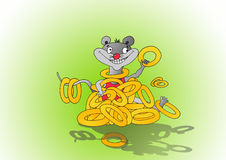 Drawing joyful mouse Stock Photography