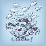 Drawing a jump in the clouds Royalty Free Stock Images