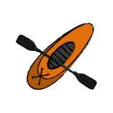Drawing kayaking board oar recreation camping Royalty Free Stock Images