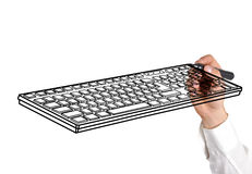 Drawing keyboard. Hand drawing keyboard on white background Royalty Free Stock Photo