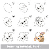 Drawing kid tutorial. Kid education and gaming - the drawing tutorial for preschool children with easy educational kid game level, the funny drawing school. How royalty free illustration