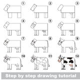 Drawing kid tutorial. Kid education and gaming - the drawing tutorial for preschool children with easy educational kid game level, the funny drawing school. How stock illustration