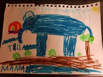 Elephant drawing. Drawing kids elephant color paint royalty free stock photos