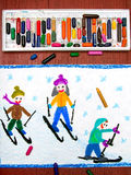 Drawing: Kids learning to ski. Colorful drawing: Kids learning to ski stock images