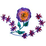 Drawing kids watercolor flower, cartoon field on a white backgro. Und Royalty Free Stock Photography