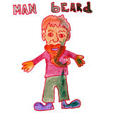 Drawing kids watercolor man beard cartoon on white Stock Photography