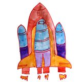 Drawing Kids Watercolor Missile, Orange Cartoon On A White Backg Stock Photography
