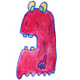 Drawing kids watercolor monster cartoon jelly on Stock Photography