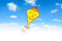 Drawing of kite. Drawing of yellow  kite on blue sky Royalty Free Stock Image