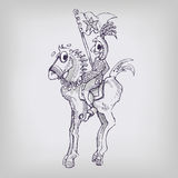 Drawing knight on a horse Stock Image