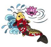 Drawing Koi Carp Japanese tattoo style. Illustration of Koi Carp Japanese tattoo style Royalty Free Stock Photos