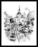 Drawing of Kyiv street, Podol, Ukraine Royalty Free Stock Photography
