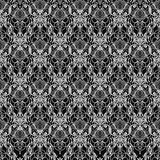 Drawing of Lace elegant vintage pattern. Lace elegant vintage pattern - white line art on black background, hand drawn vector illustration Royalty Free Stock Photo