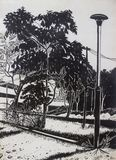 Drawing landscape in the park with black and white. Painting ink by brush with each other on a white background paper, Drawing landscape in the park with black stock illustration