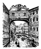 Drawing landscape view of the bridge of sighs in Venice, Italy, sketch of hand-drawn graphic  illustration Stock Photos