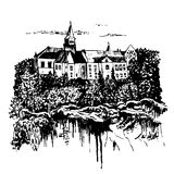 Drawing landscape view of the castle  Hruba Skala in the Bohemian Paradise on the shore of a stony precipice. In the Czech Republic, sketch, hand-drawn Stock Images