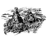 Drawing landscape view of the ruins of Trosky castle in Bohemian Paradise, Czech Republic hand-drawn illustration royalty free illustration