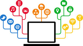 Laptop & Social Media icons, communication in the global computer networks Royalty Free Stock Photos