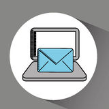 Drawing laptop technology email. Vector illustration eps 10 Stock Image