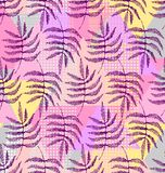 Drawing of the leaves of the fern. In pink, blue, gray and violet colors a seamless pattern on a geometric shapes background Royalty Free Stock Images