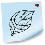 Drawing of leaves on sticky paper vector Royalty Free Stock Photos