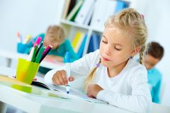 Drawing at lesson Royalty Free Stock Photography