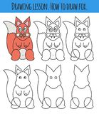 Drawing lesson for children. How draw a cartoon cute fox. Drawing tutorial with funny cartoon animal. Step by step repeats the stock illustration