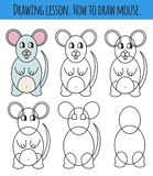 Drawing lesson for children. How draw a cartoon cute mouse. Drawing tutorial with funny cartoon animal. Step by step repeats the royalty free illustration
