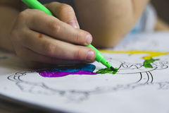 Drawing lessons with colored felt-tip pens Royalty Free Stock Images