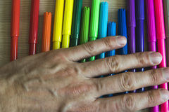 Drawing lessons with colored felt-tip pens Royalty Free Stock Image