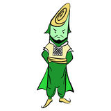 Drawing lettuce Mr. leek in national costume Royalty Free Stock Photography