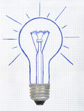 Drawing light bulb Stock Image