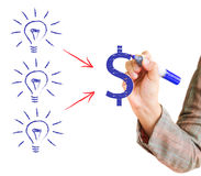 Drawing light bulb with dollar sign. Hand drawing light bulb with dollar sign on a whiteboard Royalty Free Stock Images